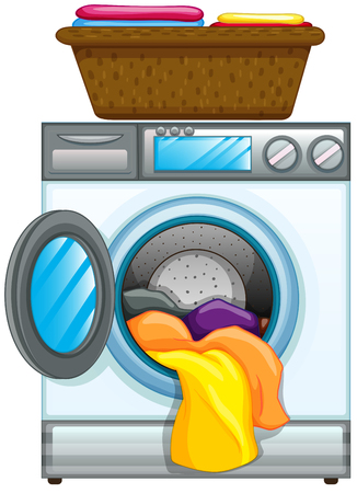 Clothes in washing machine illustration Illustration