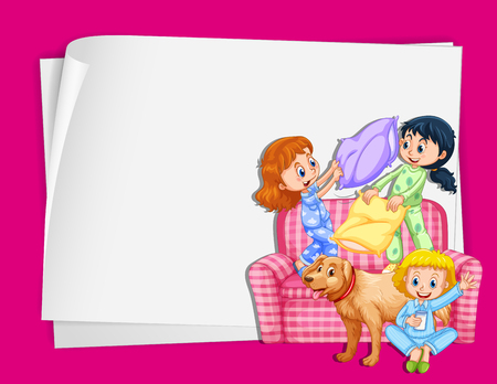 slumber party: Paper design with girls in pajamas illustration