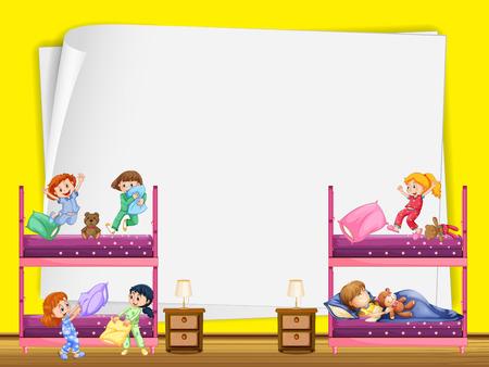 bunkbed: Paper design with kids in bedroom illustration Illustration