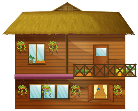 stories: Wooden house with two stories illustration