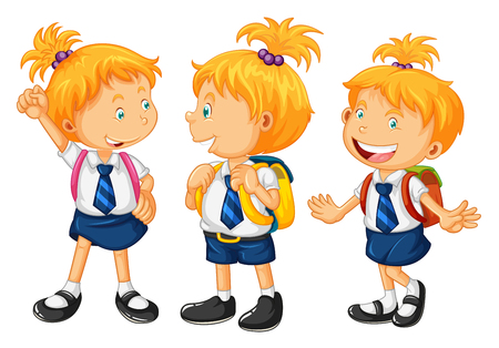 school girl uniform: Kids in school uniform illustration