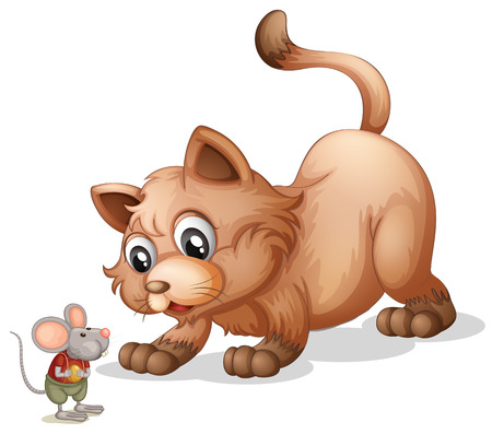 white cat: Brown cat looking at little mouse illustration