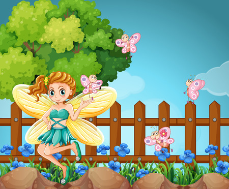butterfly myth: Fairy and butterflies in the park illustration