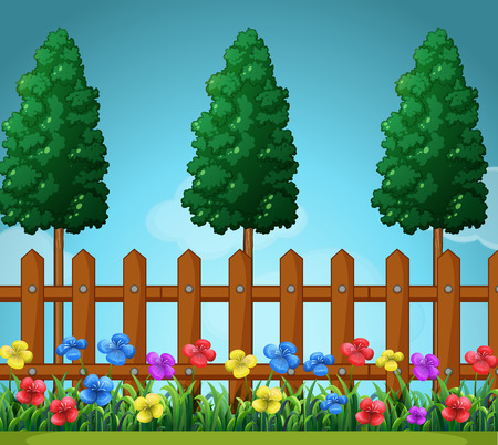 wooden fence: Scene with trees and wooden fence illustration Illustration