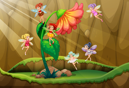 fantacy: Fairies flying around the flower illustration Illustration