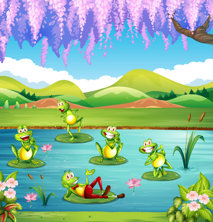 ponds: Frogs living in the pond illustration