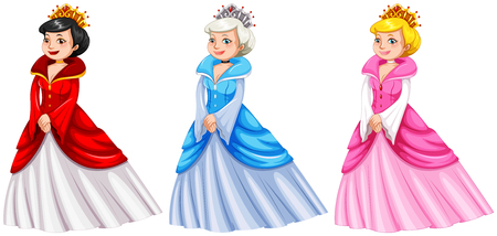 Queens in different costumes illustration