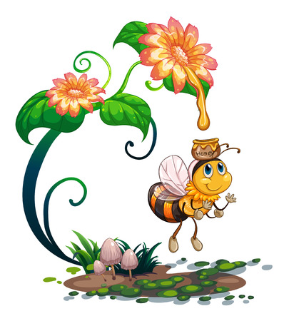 gardening: Bee collecting honey from the flower illustration Illustration
