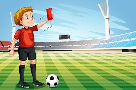futbol soccer dibujos: Árbitro que muestra la tarjeta roja en la ilustración campo de fútbol