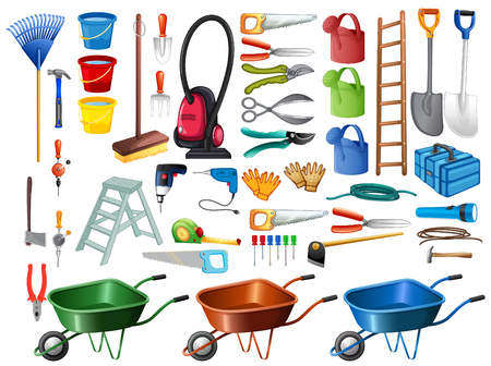 wheel barrow: Different household tools and equipments illustration Illustration