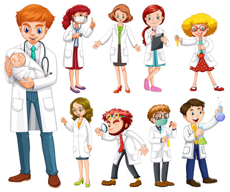 gown: Doctors and scientists in white gown illustration