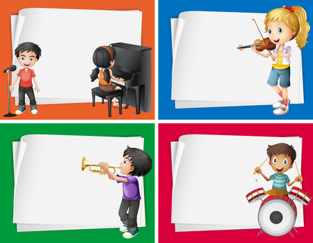 background designs: Paper designs with musicians background illustration