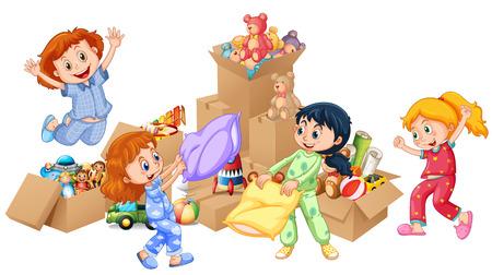 niñas jugando: Cuatro niñas jugando con la ilustración de los juguetes