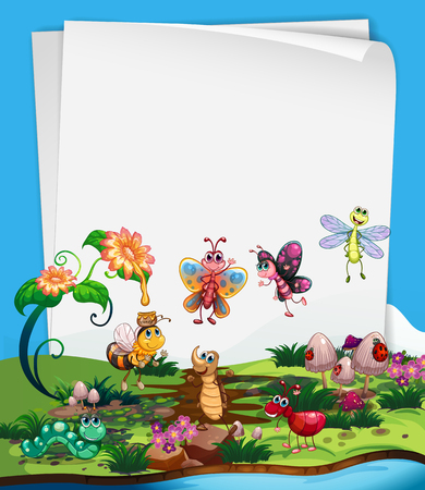 butterfly stationary: Paper template with insects in garden illustration