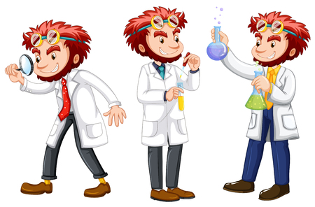doctor isolated: Three posts of male scientists in white gown illustration
