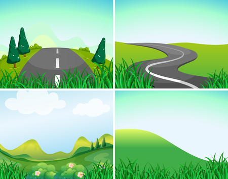 country road: Nature scenes with road and hills illustration Illustration