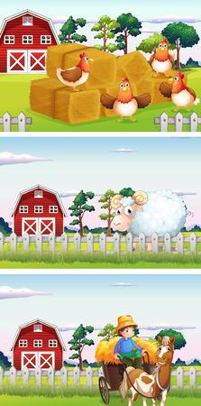 farmyard: Farmer and farm animals in the farm illustration