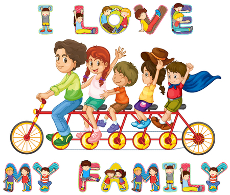 clip art: Family riding on bike together illustration Illustration