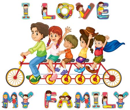 niños en bicicleta: montar a caballo de la familia en bicicleta juntos ilustración