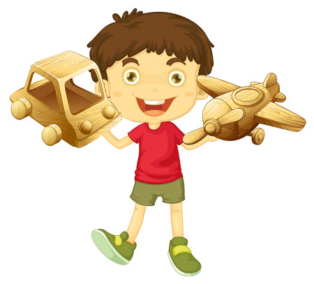 bambini che giocano: Boy holding wooden toys in both hands illustration