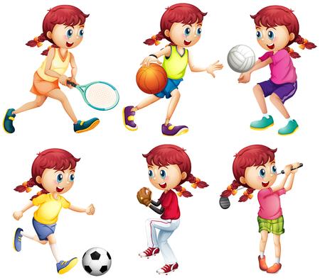 teen golf: Chica haciendo diferentes tipos de ilustraci�n deportes
