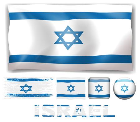 israel flag: Israel flag in different designs illustration Illustration