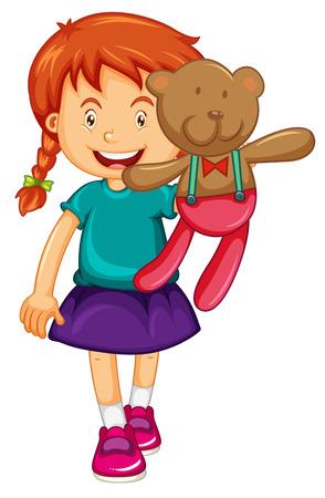 stuffed: Little girl holding brown teddy bear illustration