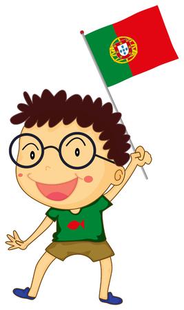 portugese: Little boy holding Portuguese flag illustration