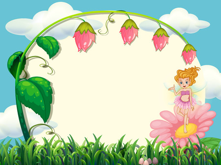 fairy: Frame design with fairy and flower illustration Illustration