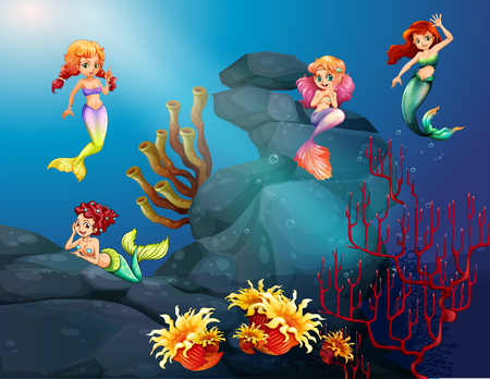 fantacy: Mermaids swimming under the ocean illustration