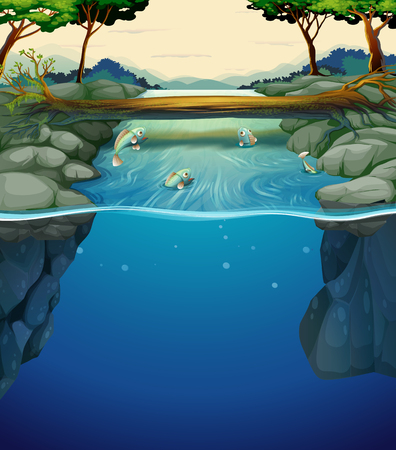 tropical forest: Nature scene with fish in the river illustration