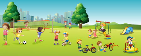 Children playing games and sports in the park illustration Ilustracja