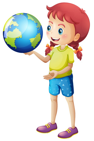 hand holding globe: Girl holding globe in her hand illustration