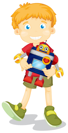 kid smile: Boy holding toy robot illustration