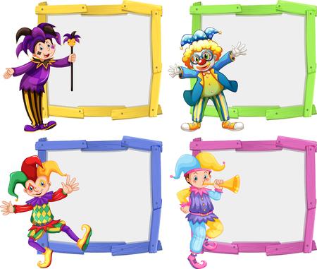 wooden frame: Wooden frame with clowns illustration Illustration