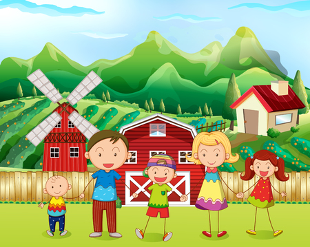 family outside house: Family living in the farm illustration