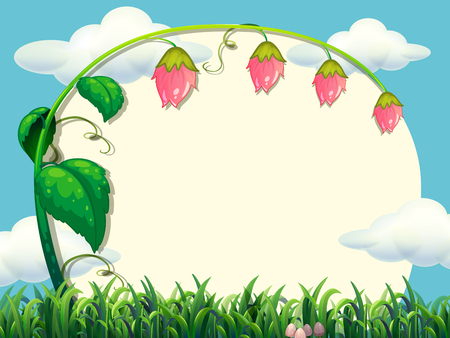 nature scenery: Frame design with flower in the field illustration