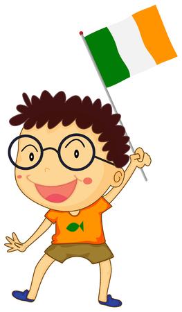 bandera irlanda: Muchacho que sostiene Irlanda del pabell�n ilustraci�n
