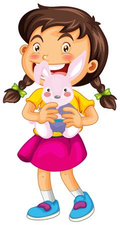 stuffed: Little girl and rabbit doll illustration Illustration