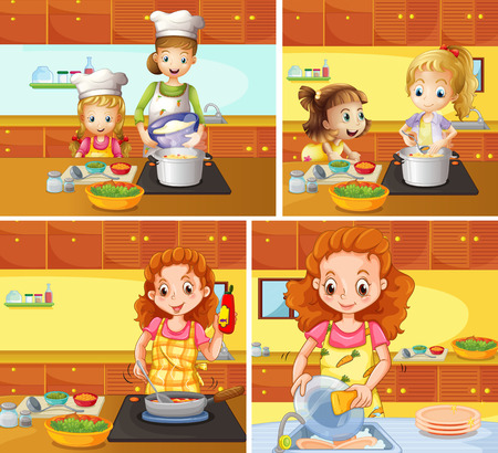 Mother and daughter cooking and cleaning	 illustration Illustration