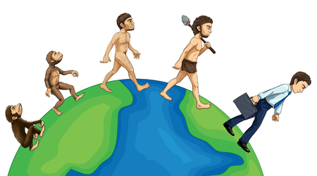 human evolution: Evolution of human on earth illustration