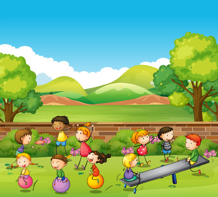 ball park: Children playing games in the park illustration
