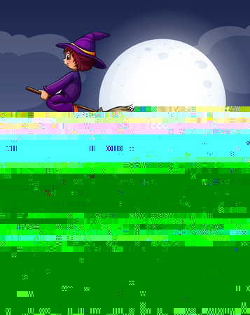 night art: Witch flying on broom at night illustration Illustration