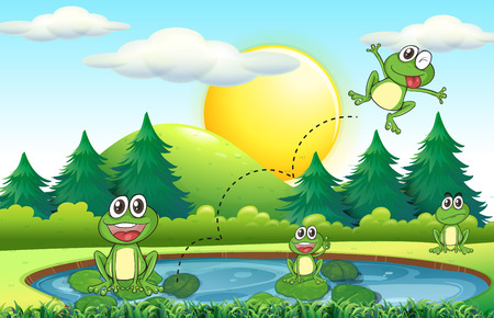 outdoor scenery: Frogs living by the pond illustration Illustration