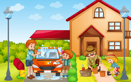 family outside house: Kids and adult washing car and planting tree illustration
