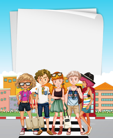 zebra crossing: Paper template with teenagers on the street illustration