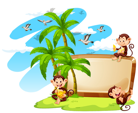 coconut trees: Frame design with monkeys and coconut trees illustration