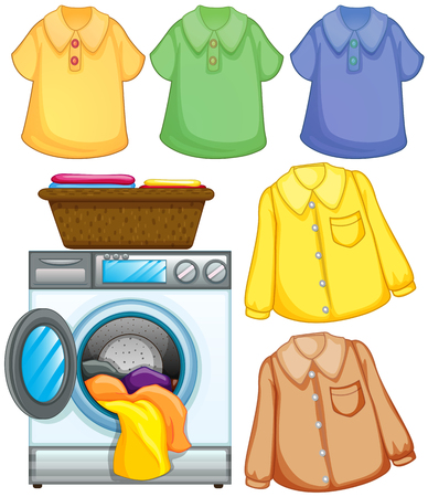 cleaned: Washing machine and cleaned clothes illustration Illustration