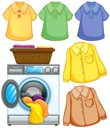 Washing machine and cleaned clothes illustration Ilustracja