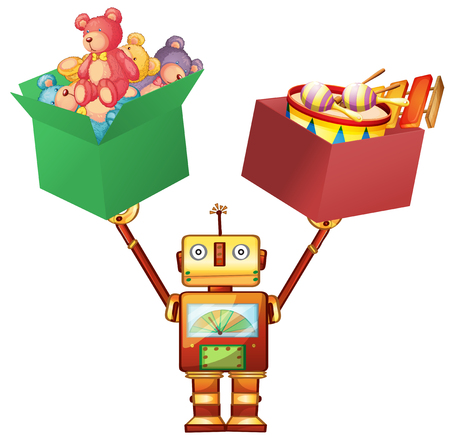 playtime: Robot lifting boxes with teddy bears and instruments illustration